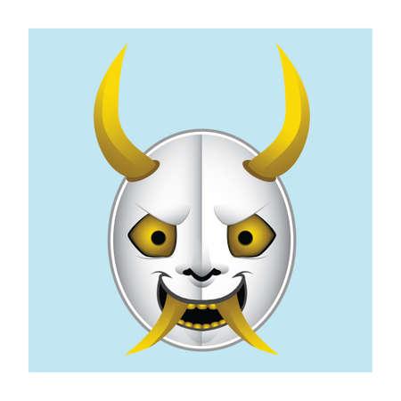 deuce: Japanese demon mask illustration