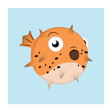 Puffer fish ( fugu ) illustration Illustration