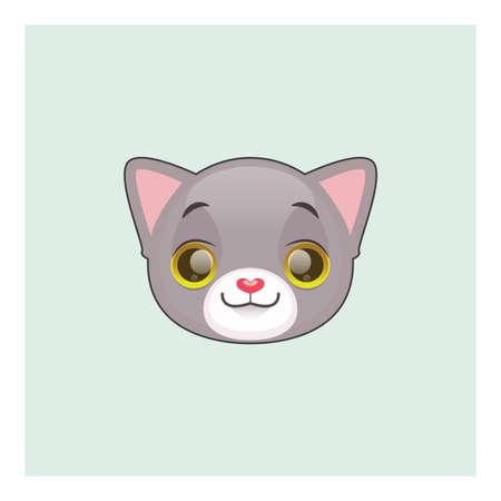 gray cat: Cute gray cat smiling emoticon