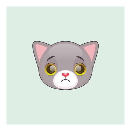 Cute gray cat sad face emoticon Illustration