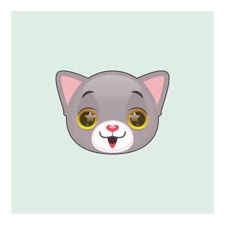gray cat: Cute gray cat excited emoticon