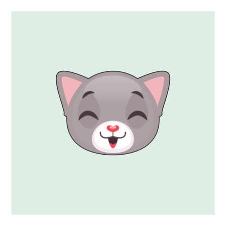 gray cat: Cute gray cat laughing emoticon