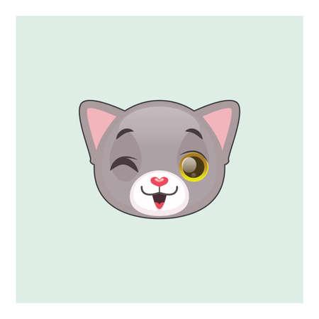 gray cat: Cute gray cat winking emoticon