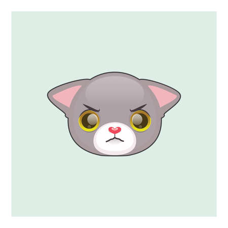 Cute gray cat angry face emoticon