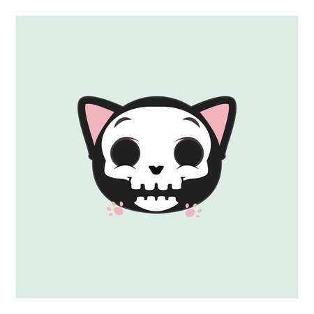 Cute gray cat Halloween emoticon