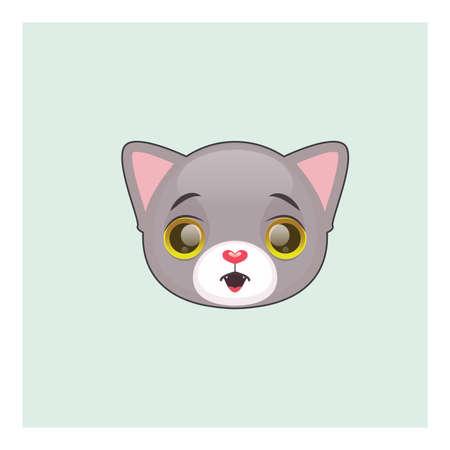 Cute gray cat surprised face emoticon