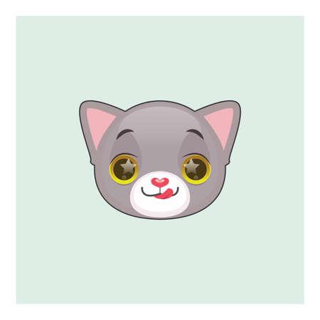 gray cat: Cute gray cat hungry emoticon
