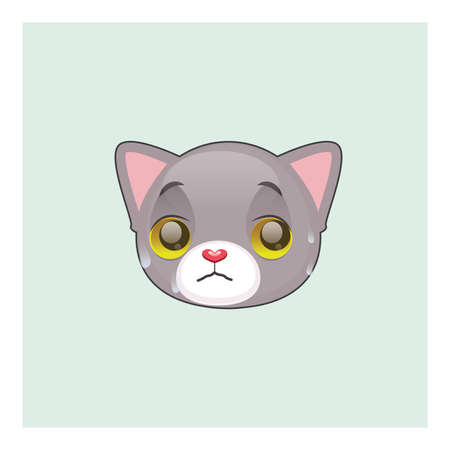 kitten small white: Cute gray cat guilty face emoticon Illustration