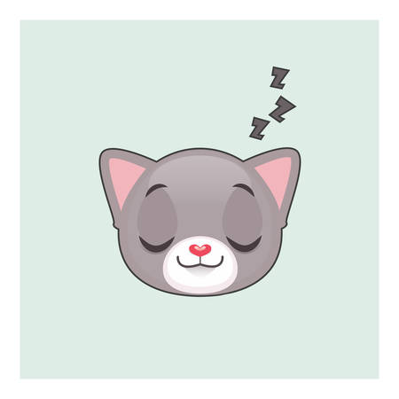 gray cat: Cute gray cat sleeping emoticon