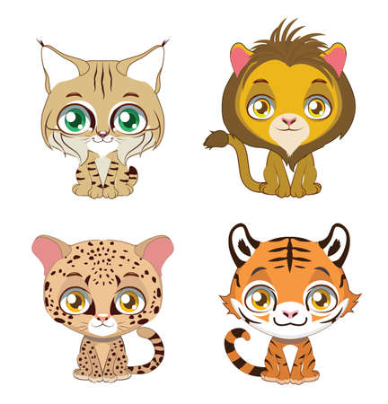 Cute illustration of four different big cats Illustration