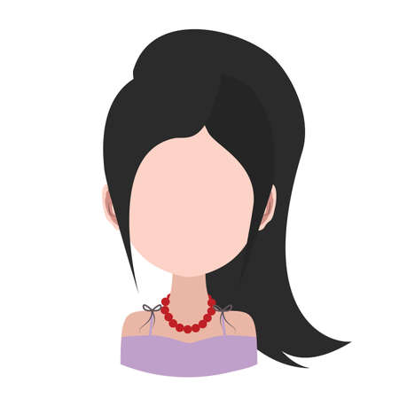 ponytail: Female avatar with ponytail Illustration