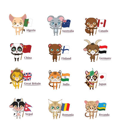 Animals with flags representing their countries ( national animal )