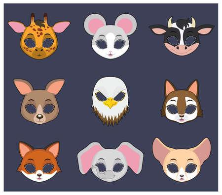 festivities: Animal mask set 4 for Halloween and various festivities