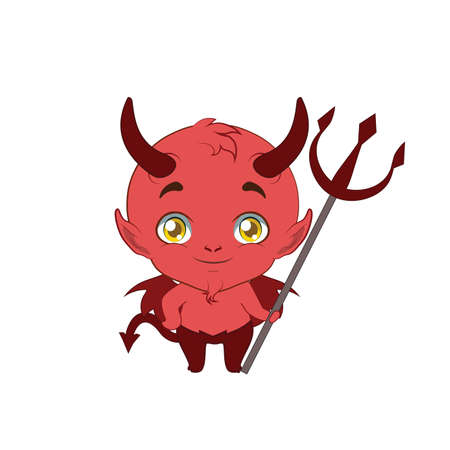 deuce: Illustration of a cute little devil with a pitchfork Illustration