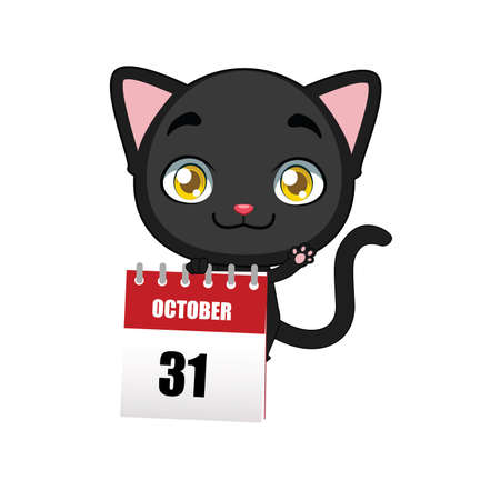 pussy: Cute black cat holding a calendar Illustration