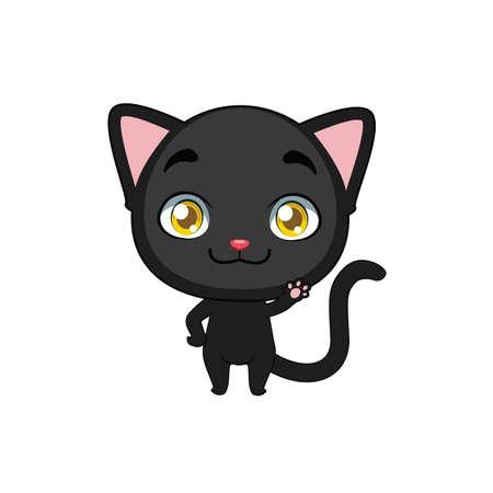 Cute black cat waving