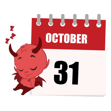 underworld: Little devil sleeping next to calendar depicting October 31