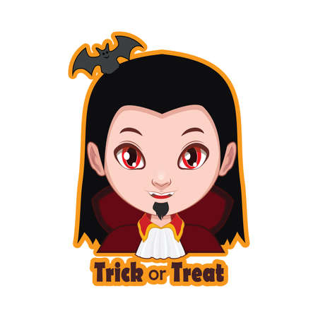 Halloween character badge - Vampire Illustration