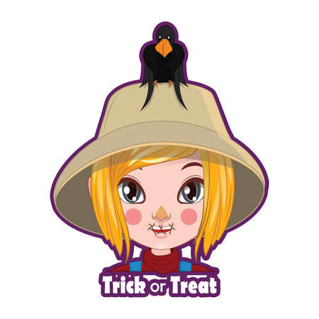 scarecrow: Halloween character badge - Scarecrow Illustration