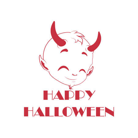 deuce: Cute little red devil decal - Halloween decoration