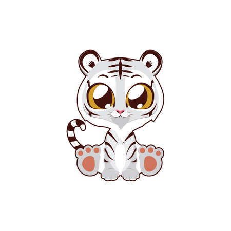 Cute white tiger vector illustration art in flat color