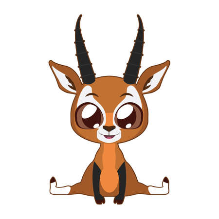 black and white: Cute Antelope vector illustration art in flat color Illustration