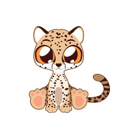 felidae: Cute cheetah vector illustration art in flat color
