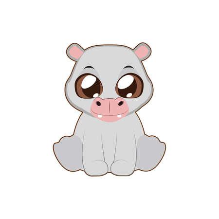 behemoth: Cute hippo vector illustration art in flat color Illustration