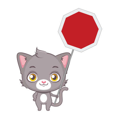 grey cat: Cute gray cat character holding a blank traffic sign