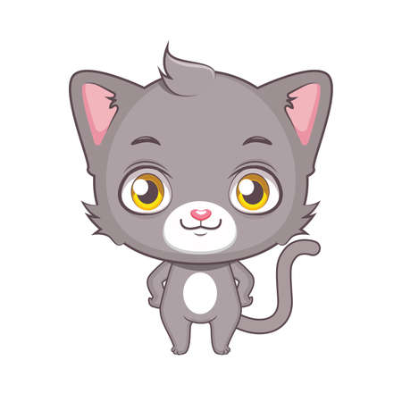 Cute gray cat character posing Illustration