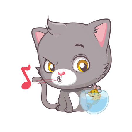 grey cat: Cute gray cat character trying to catch the fish Illustration