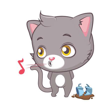 Cute gray cat character pretending not to see the broken mug