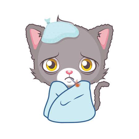 Cute gray cat character feeling sick Illustration