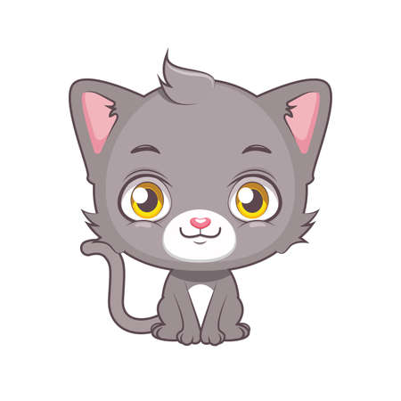 Cute gray cat character sitting Illustration