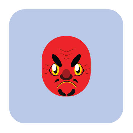 deuce: Japanese demon mask 3 in flat color