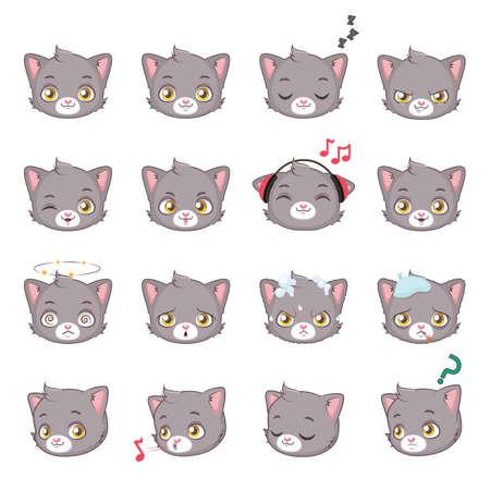 Cute gray cat emojis Illustration