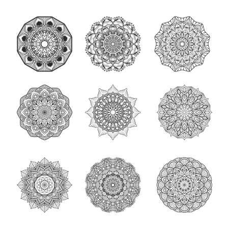 Collection of intricate mandalas Illustration