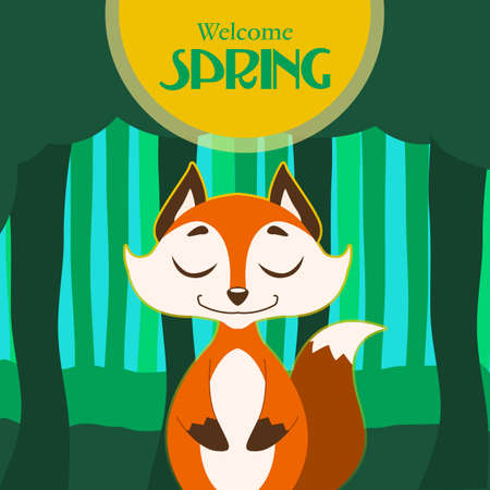 Illustration of spring card with stylized fox 向量圖像