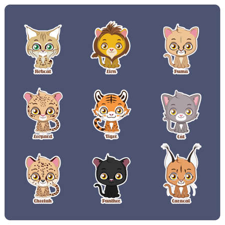 Cute illustration of 9 different cats
