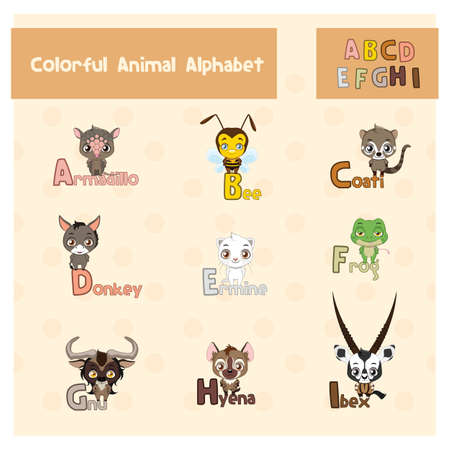 Animal ABC from letter A - I