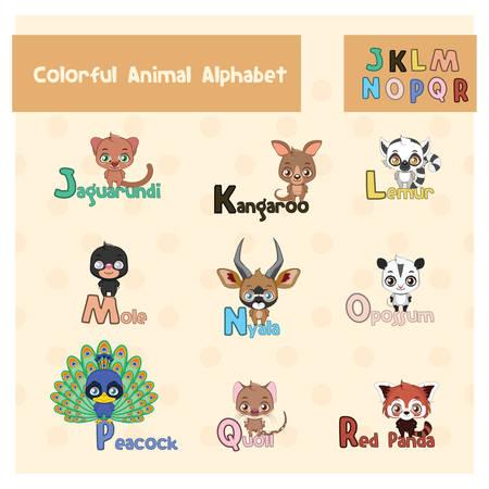 Animal ABC from letter J - R Illustration