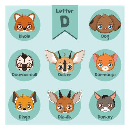 Animal portrait alphabet - Letter D