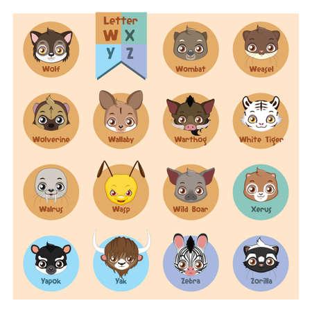 wolverine: Animal portrait alphabet - Letter W, X, Y, Z Illustration