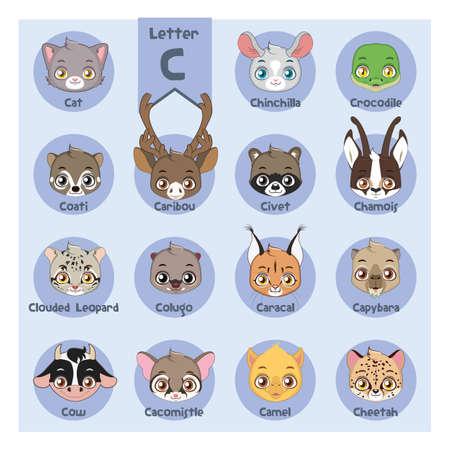Animal portrait alphabet - Letter C