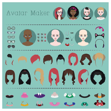 Woman avatar maker 向量圖像