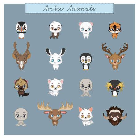 Collection of Arctic animals Illustration