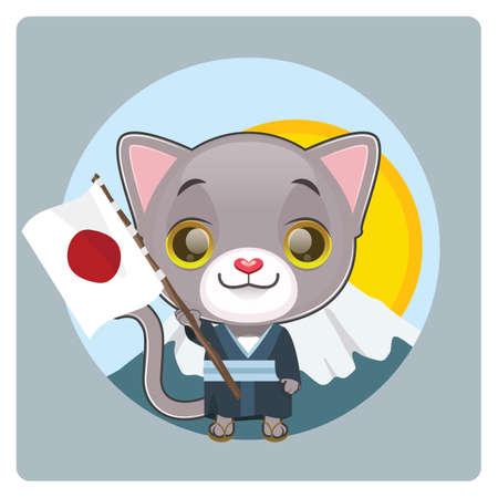 Cute gray cat dressed in kimono holding the Japanese flag Illustration