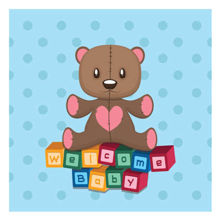 Welcome baby greeting with teddy and building blocks Illustration