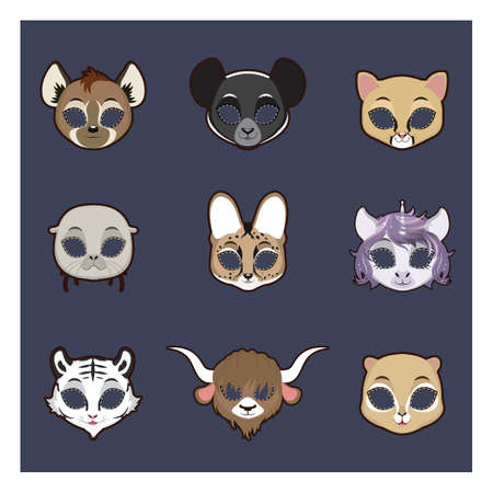 Collection of animal masks for Halloween and various festivities Stock Vector - 84820519