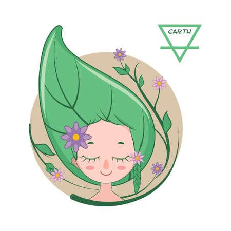 Illustration of a girl symbolizing earth element Illustration